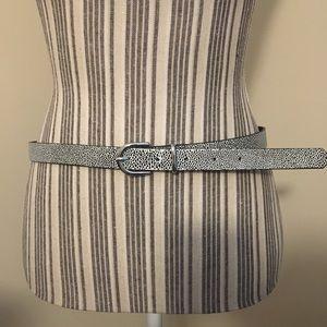Black white speckled leather belt H&M